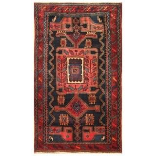 Handmade Herat Oriental Persian Hand-knotted Semi-Antique Nahavand 1960's Wool Rug (4'2 x 7')