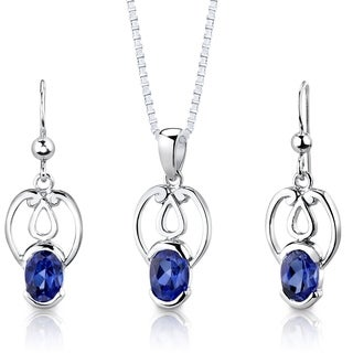 Created Sapphire Pendant Earrings Necklace Sterling Silver Oval Cut 2.25 Carats
