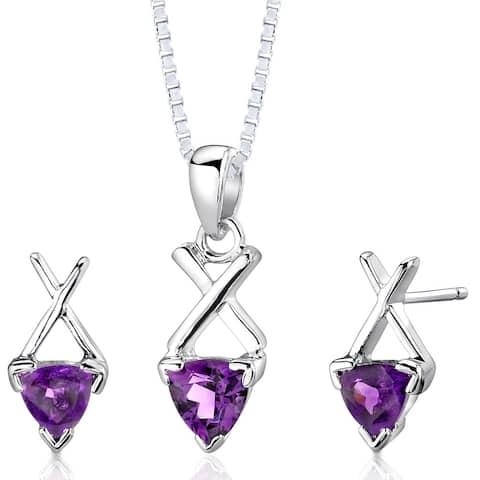 Amethyst Pendant Earrings Necklace Sterling Silver Trillion Cut 1.50 Carats