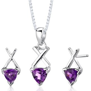 Amethyst Pendant Earrings Necklace Sterling Silver Trillion Cut 1.50 Carats