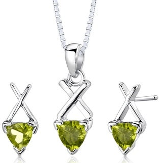 Peridot Pendant Earrings Necklace Sterling Silver Trillion Shape 1.75 Carats