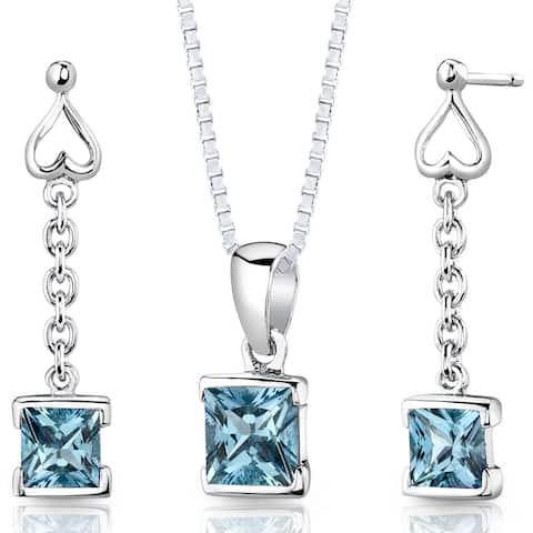 Swiss Blue Topaz Pendant Earrings Necklace Sterling Silver 2.75 Carats