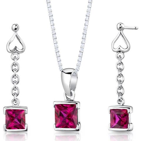 Created Ruby Pendant Earrings Necklace in Sterling Silver Princess Cut 2.75 Carats