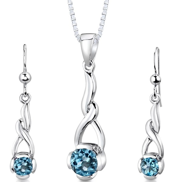 701c303f4 Shop Swiss Blue Topaz Pendant Earrings Necklace Sterling Silver Round Shape  2.25 Carats - Free Shipping Today - Overstock - 23547333