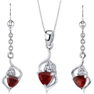 Classy 2.25 carats Trillion Cut Sterling Silver Garnet Pendant Earrings Set