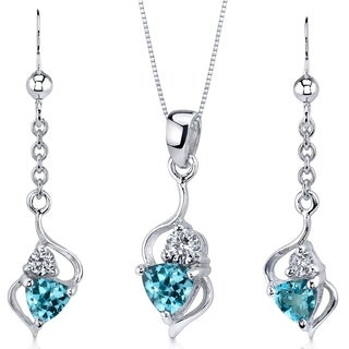 Swiss Blue Topaz Pendant Earrings Set Sterling Silver 1.75 Carats Ribbon Style