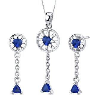 Created Sapphire Pendant Earrings Necklace Sterling Silver 2.50 Carats