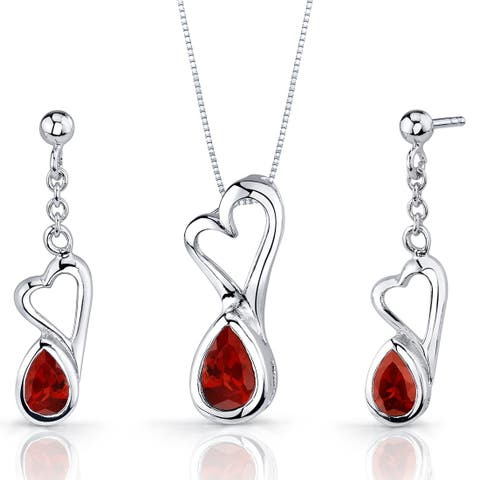 Heart Design 2.00 carats Pear Shape Sterling Silver Garnet Pendant Earrings Set