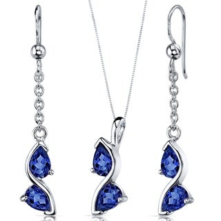 Created Sapphire Pendant Earrings Necklace Sterling Silver Pear Shape 3.00 Carats