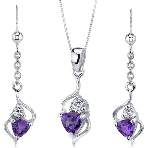 Classy 1.50 carats Trillion Cut Sterling Silver Amethyst Pendant Earrings Set