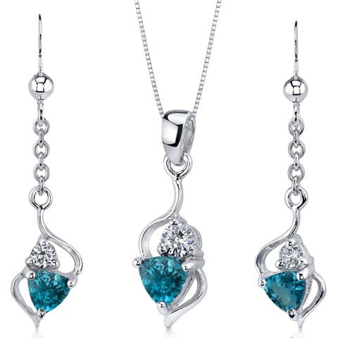 London Blue Topaz Pendant Earrings Set Sterling Silver 1.75 Carats Ribbon Style