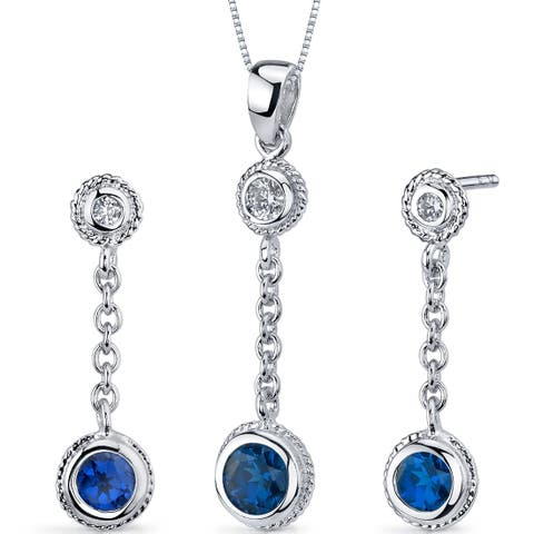 Created Sapphire Pendant Earrings Necklace Sterling Silver Round Shape 1.50 Carats