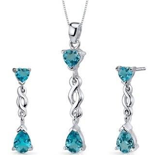 Swiss Blue Topaz Pendant Earrings Necklace Sterling Silver Pear Shape 3.25 Carats