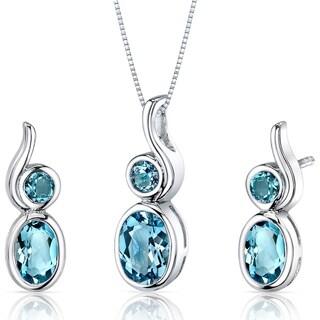 Swiss Blue Topaz Pendant Earrings Necklace Set Sterling Silver Bezel Set 2.75 Carats