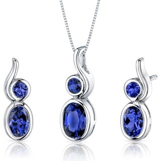Created Sapphire Pendant Earrings Necklace Set Sterling Silver Bezel Set 2.75 Carats