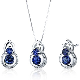Created Sapphire Pendant Earrings Necklace Set Sterling Silver 1.50 Carats