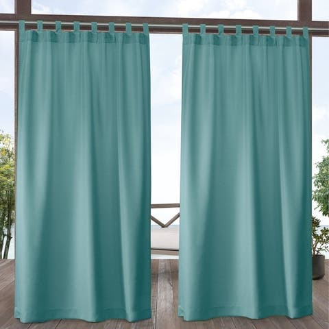 ATI Home Indoor/Outdoor Solid Cabana Tab Top Window Curtain Panel Pair