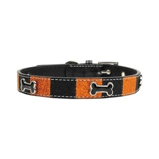 Mirage Pet Products Faux Leather Halloween Ice Cream Bone Collar - Small
