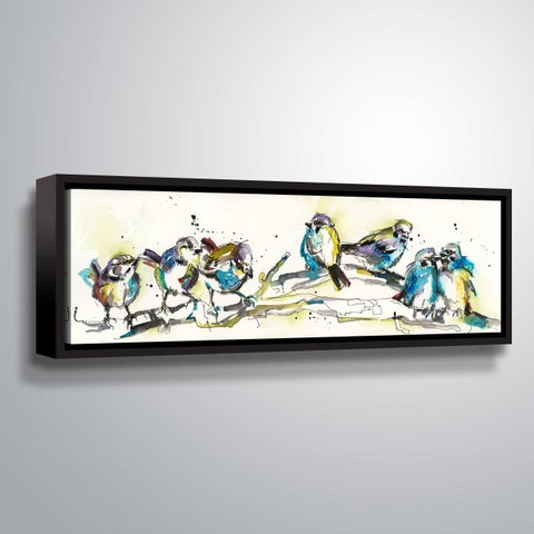 ArtWall Line of Birds I Gallery Wrapped Floater-framed Canvas - Blue