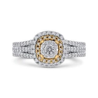 14K Two Tone Gold 1ct TDW Diamond Cushion Shaped Engagement Ring (I-J, I1)