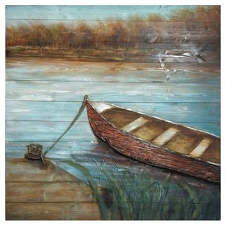 Docked Multicolor Horizontal Wood Painting - Multi-color