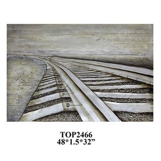 Right Track Multicolor Horizontal Wood Painting - Multi-color
