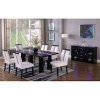 Best Master Furniture 7 Pieces Black Wood with LED Lighting Dining