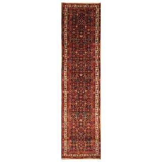 Handmade One-of-a-Kind Hamadan Wool Runner (Iran) - 3'4 x 13'10