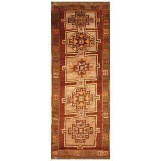 Handmade Herat Oriental Persian Hand-knotted Antique Kurdish 1920's Wool Runner (4'7 x 12')