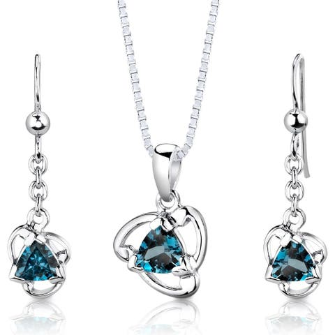 London Blue Topaz Pendant Earrings Necklace Set Sterling Silver 2.75 Carats