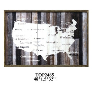 Wooden USA Multicolor Horizontal Print - Multi-color