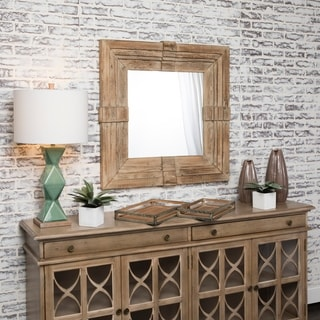 Notched Natural Horizontal and Vertical Fir Wood Mirror - A/N