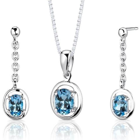 Swiss Blue Topaz Pendant Earrings Sterling Silver Oval Shape 1.75 Carats