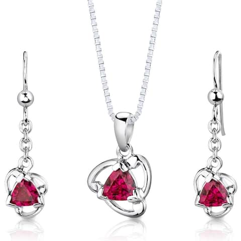 Created Ruby Pendant Earrings Necklace Set Sterling Silver 2.75 Carats