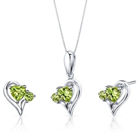 Peridot Pendant Earrings Necklace Sterling Silver Heart Shape 2.25 Carats