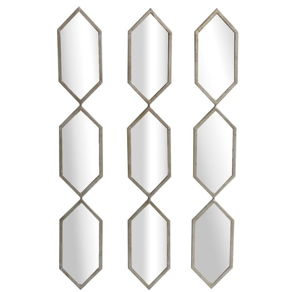 Triple Play Champaign Vertical Metal MDF Wall Mirrors, Set of 3 - Champagne - A/N