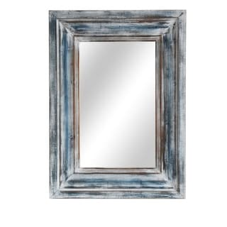 Blue Reflection Blue Horizontal and Vertical Wood Wall Mirror - A/N