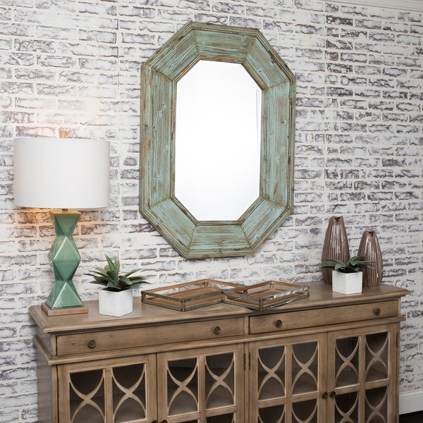 Sarge Blue Horizontal and Vertical Fir Wood Mirror - Green/Brown - A/N