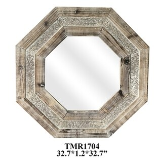 Octagon Farm Natural Wood Horizontal and Vertical Wall Mirror - A/N