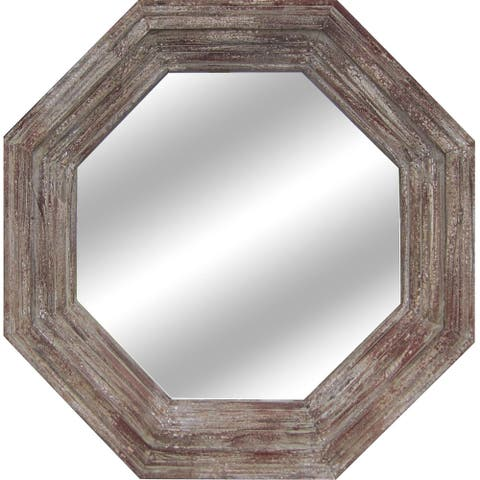 Paxton Antique Grey and Red Fir Wood Mirror - A