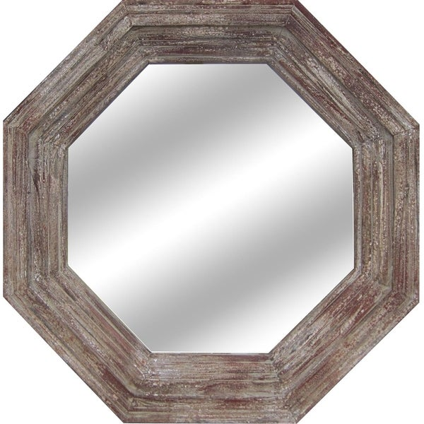 Paxton Antique Grey and Red Fir Wood Mirror - Brown - A/N