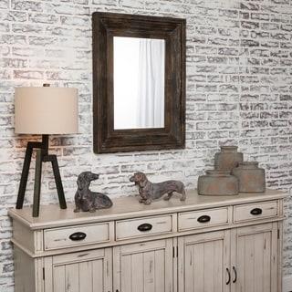 Aden Horizontal and Vertical Fir Wood Mirror - Grey/Brown - A/N