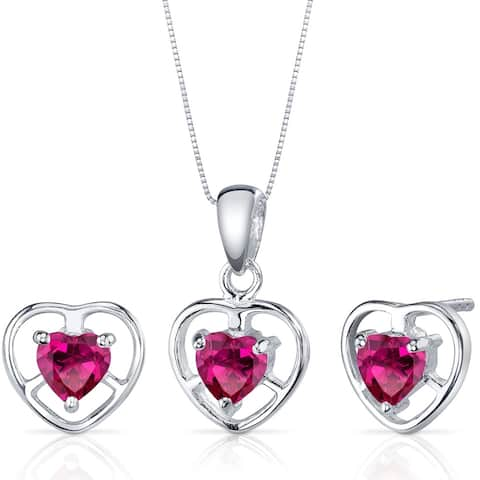 Heart Solitaire Design 1.50 carats Sterling Silver with Created Ruby Pendant Earrings Set