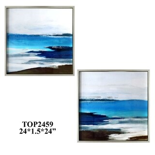 Paired In Blue Multicolor Horizontal Tempered Glass Arts, Set of 2 - Multi-color