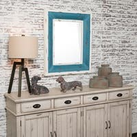 Aqua Beauty Antique White and Blue Fir Wood Mirror - Antique White - A/N