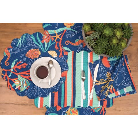 Ridley Island Tropical/Coastal Cotton Quilted Placemat Set of 6