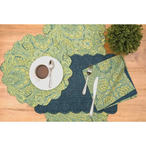 Arden Paisley Cotton Quilted Placemat Set of 6. Opens flyout.