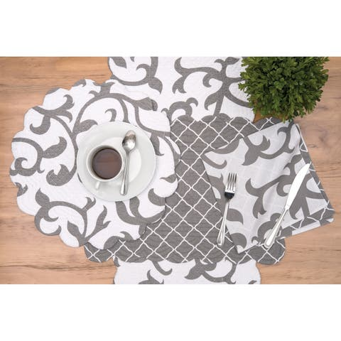 Coraline Coastal Grey Cotton Quilted Placemat Set of 6