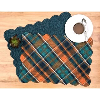 Bowie Plaid Rustic Cotton Quilted Placemat Set of 6 - N/A