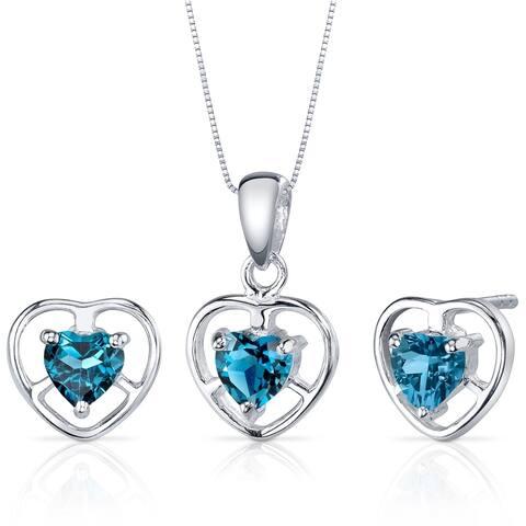 London Blue Topaz Pendant Earrings Necklace Set Sterling Silver Heart Shape 1.50 Carats